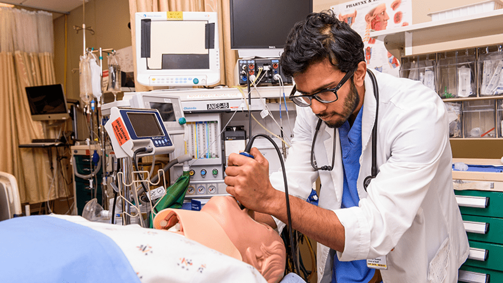 Photo of medical student in SIM lab