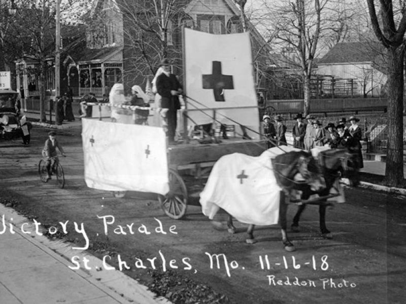 World War I victory parade in St. Charles, Missouri, during the 1918 flu pandemic