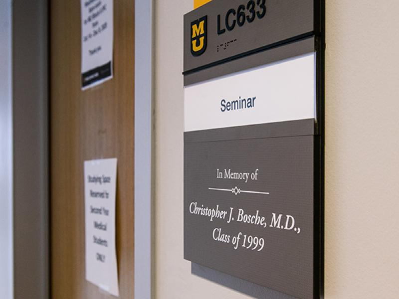 Plaque in memory of Dr. Bosche